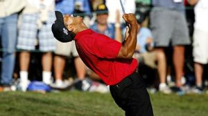 Tiger after making his clutch putt to force play off on US Open 2008